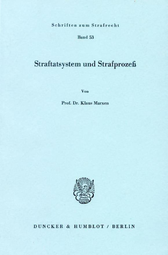 Cover Straftatsystem und Strafprozeß