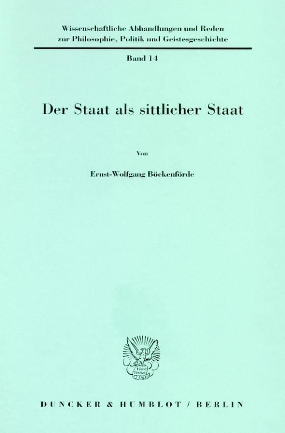 Cover Der Staat als sittlicher Staat