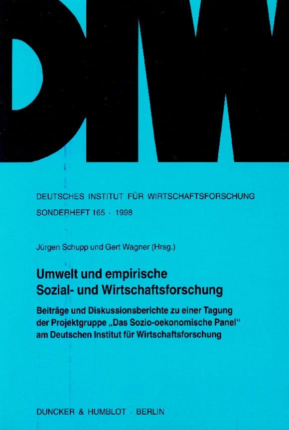 Cover Umwelt und empirische Sozial- und Wirtschaftsforschung