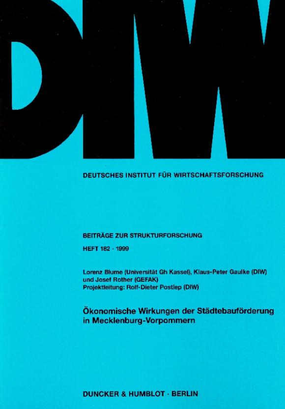 Cover Ökonomische Wirkungen der Städtebauförderung in Mecklenburg-Vorpommern