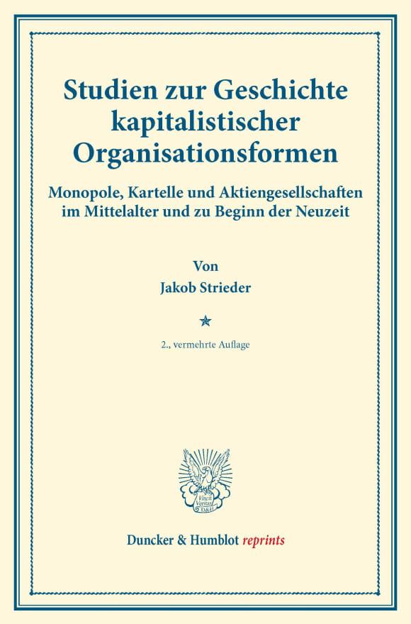 Cover Studien zur Geschichte kapitalistischer Organisationsformen