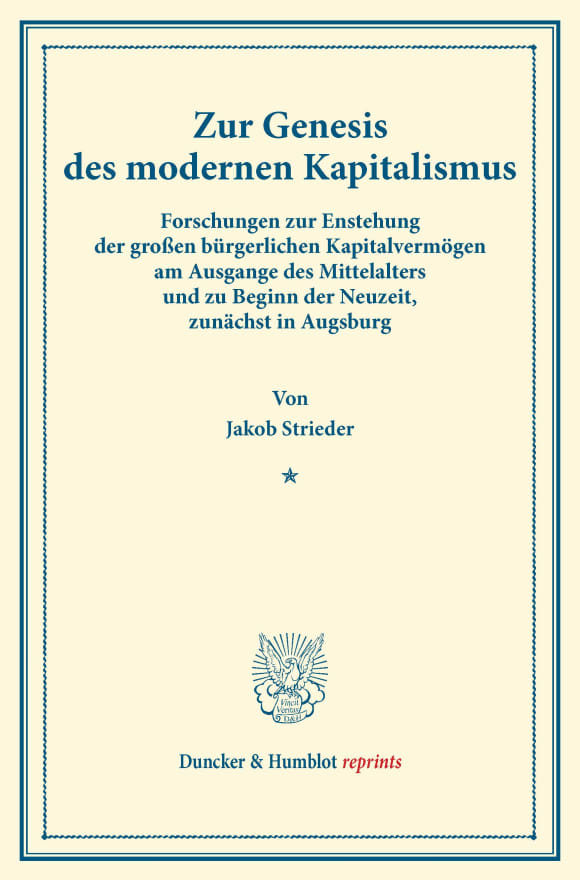 Cover Zur Genesis des modernen Kapitalismus