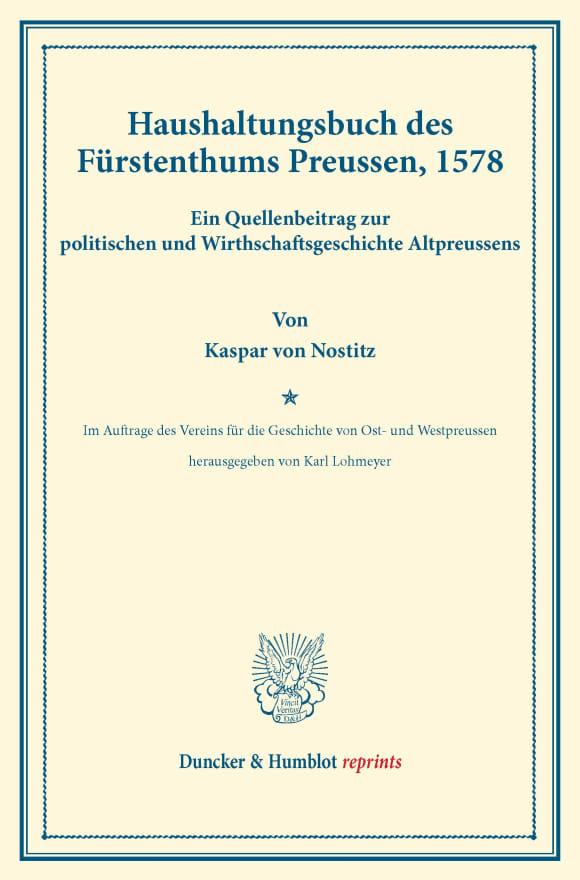 Cover Haushaltungsbuch des Fürstenthums Preussen, 1578