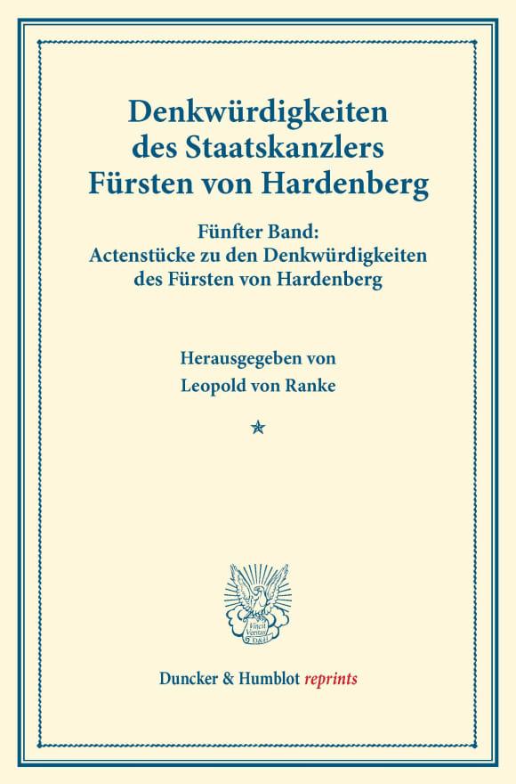 Cover Denkwürdigkeiten des Staatskanzlers Fürsten von Hardenberg