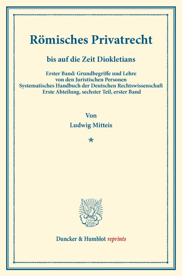 Cover Römisches Privatrecht bis auf die Zeit Diokletians