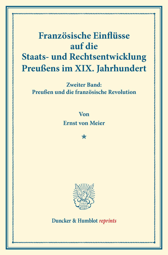 Cover Französische Einflüsse auf die Staats- und Rechtsentwicklung Preußens im XIX. Jahrhundert