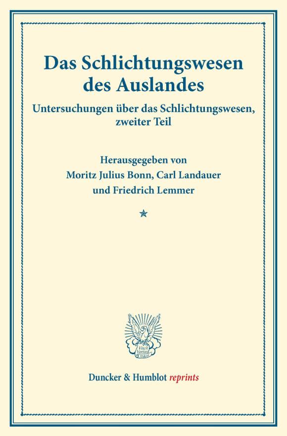 Cover Das Schlichtungswesen des Auslandes