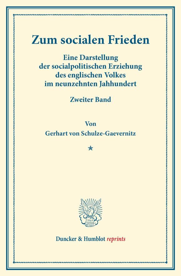 Cover Zum socialen Frieden
