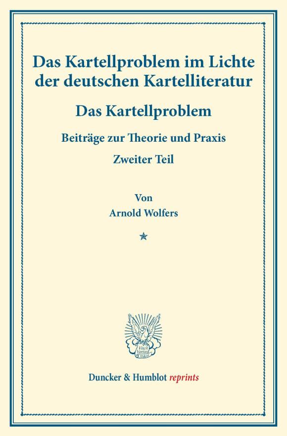 Cover Das Kartellproblem im Lichte der deutschen Kartelliteratur