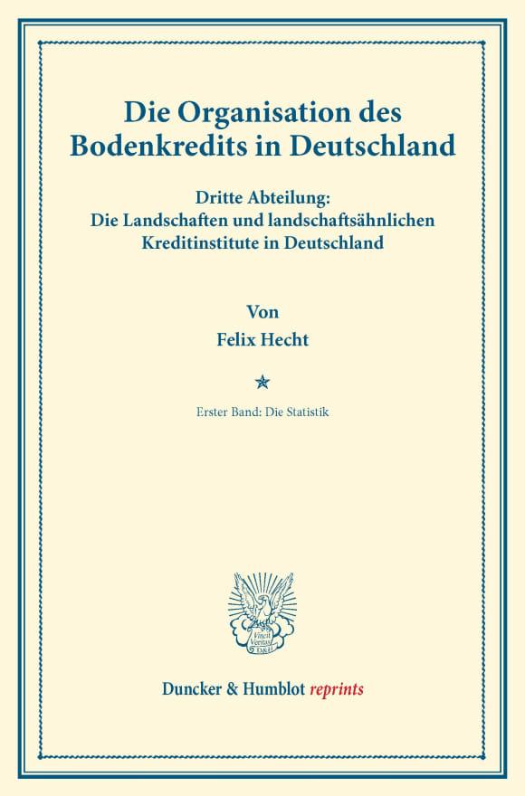 Cover Die Organisation des Bodenkredits in Deutschland