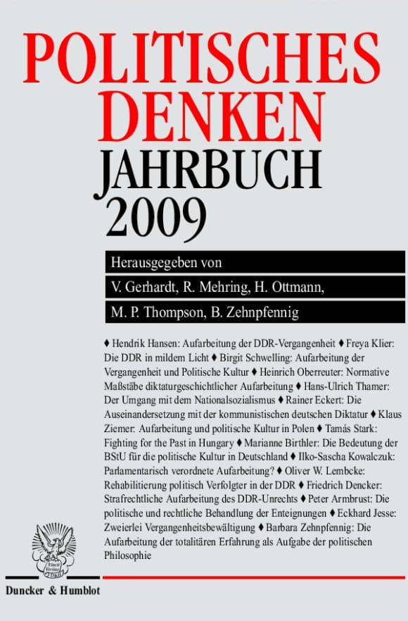 Cover Politisches Denken. Jahrbuch 2009