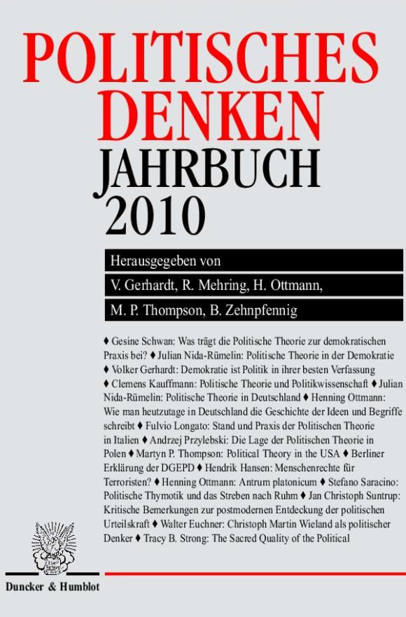 Cover Politisches Denken. Jahrbuch 2010