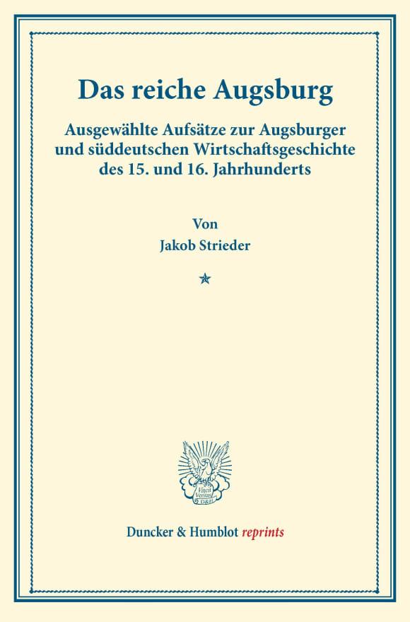 Cover Das reiche Augsburg