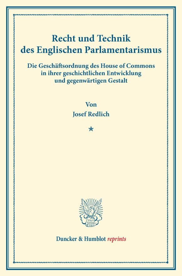Cover Recht und Technik des Englischen Parlamentarismus