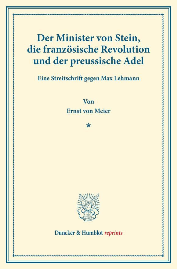 Cover Der Minister von Stein, die französische Revolution und der preussische Adel