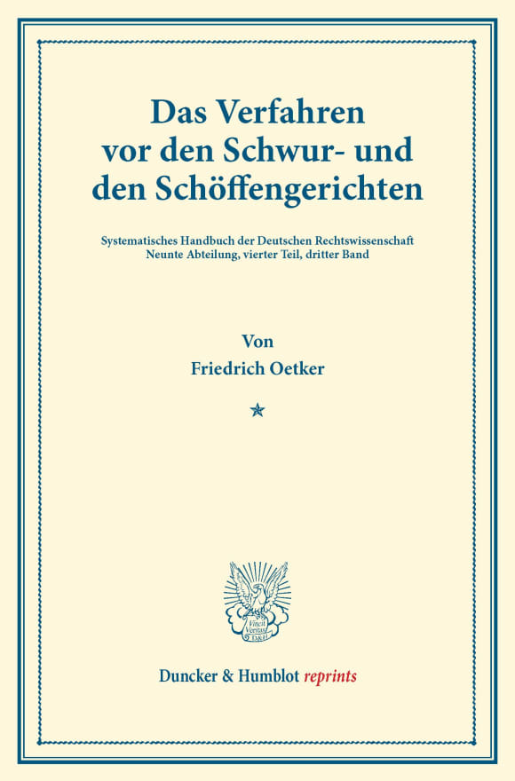 Cover Das Verfahren vor den Schwur- und den Schöffengerichten