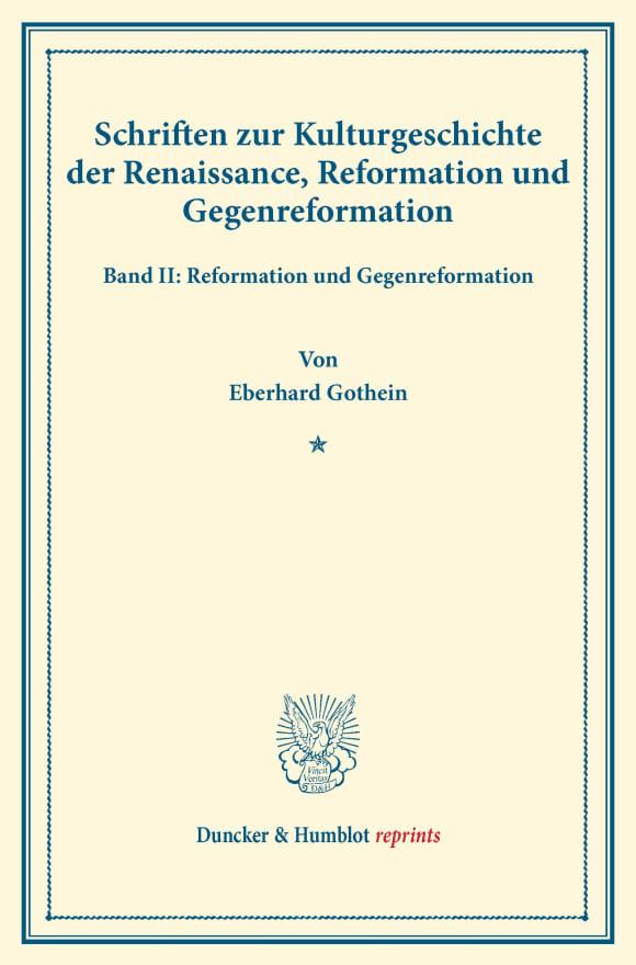Cover Schriften zur Kulturgeschichte der Renaissance, Reformation und Gegenreformation