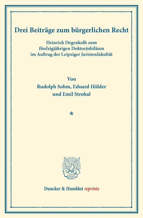 Cover Drei Beiträge zum bürgerlichen Recht