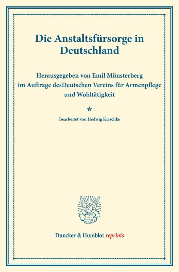 Cover Die Anstaltsfürsorge in Deutschland