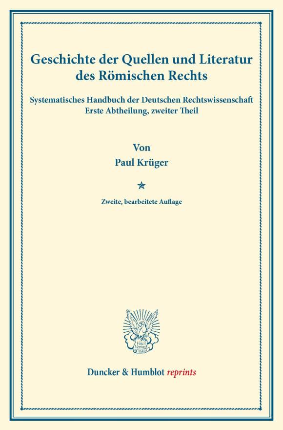 Cover Geschichte der Quellen und Literatur des Römischen Rechts