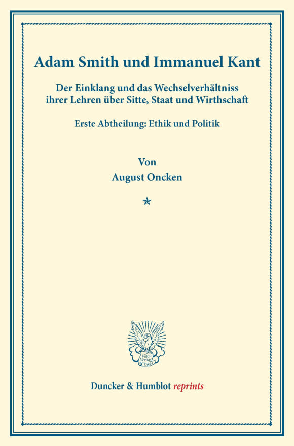 Cover Adam Smith und Immanuel Kant