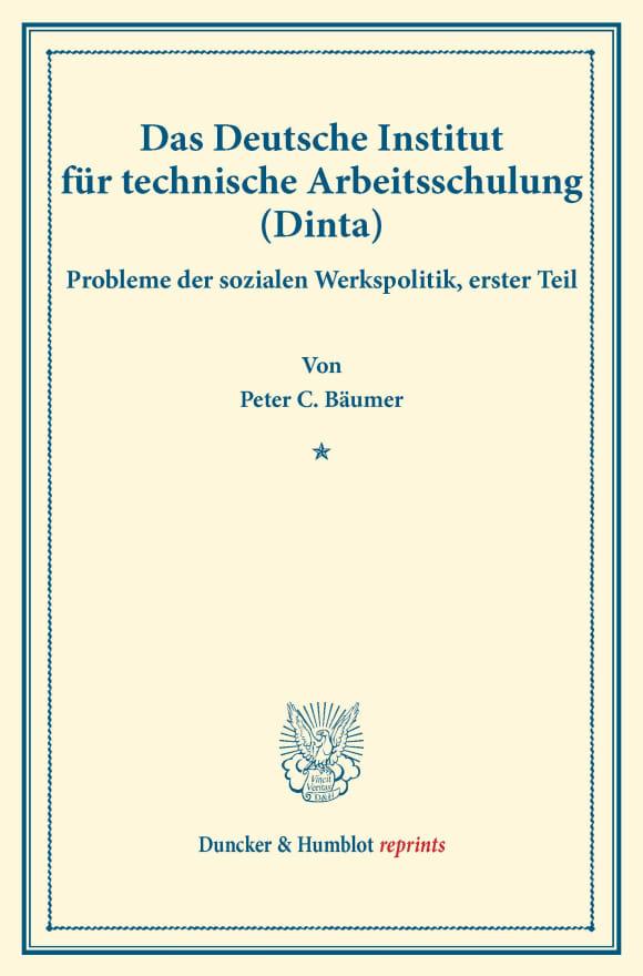 Cover Das Deutsche Institut für technische Arbeitsschulung (Dinta)