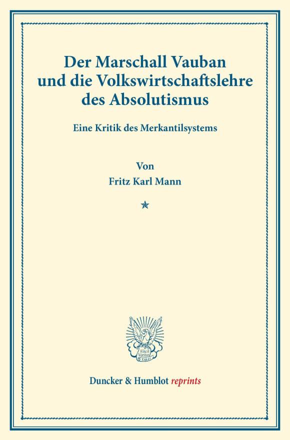 Cover Der Marschall Vauban und die Volkswirtschaftslehre des Absolutismus