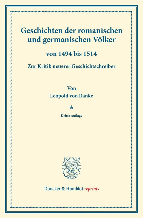 Cover Geschichten der romanischen und germanischen Völker