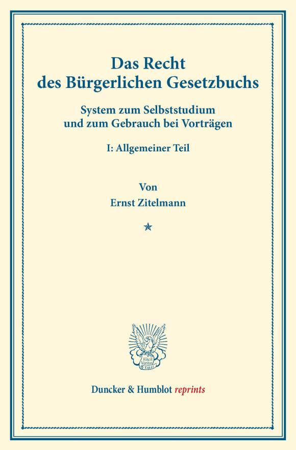 Cover Das Recht des Bürgerlichen Gesetzbuchs