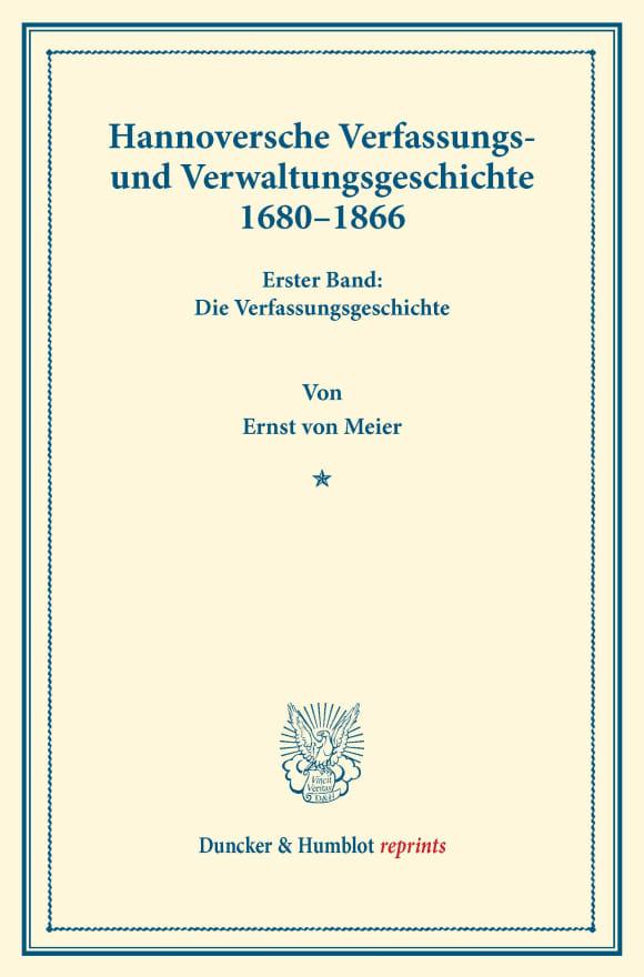 Cover Hannoversche Verfassungs- und Verwaltungsgeschichte 1680–1866