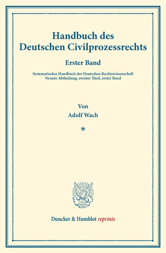 Cover Handbuch des Deutschen Civilprozessrechts