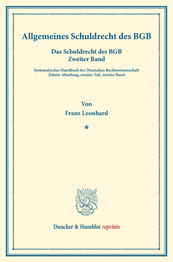 Cover Besonderes Schuldrecht des BGB