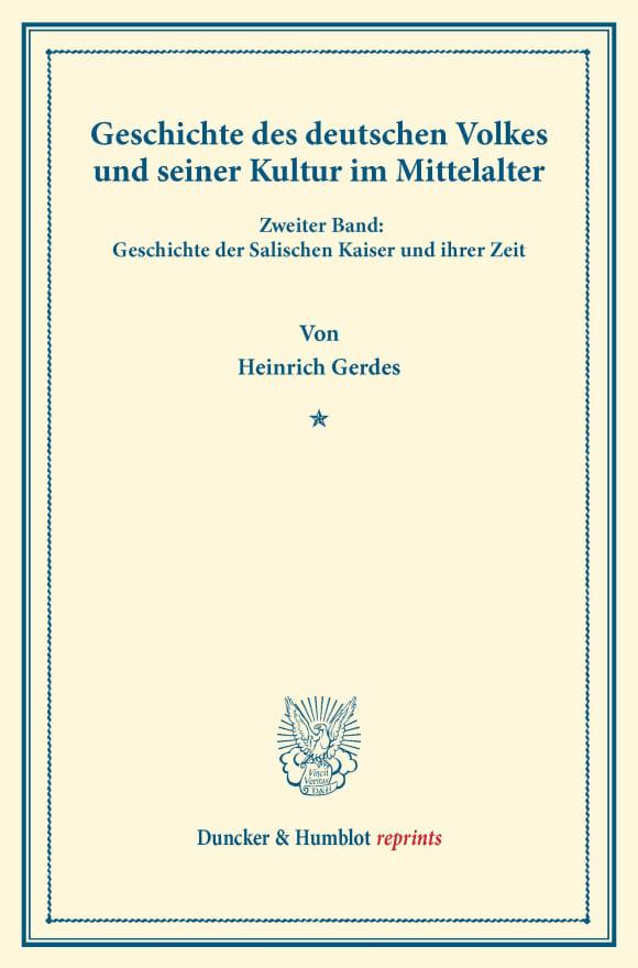 Cover Geschichte des deutschen Volkes und seiner Kultur im Mittelalter