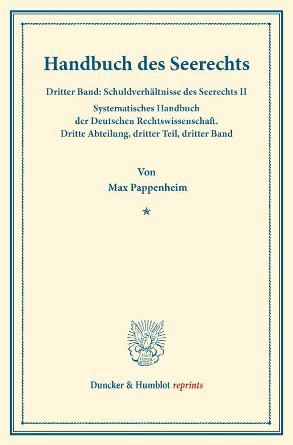 Cover Handbuch des Seerechts