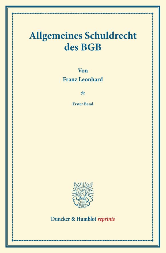 Cover Allgemeines Schuldrecht des BGB