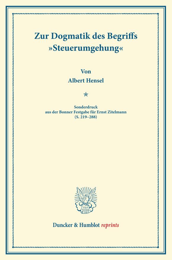 Cover Zur Dogmatik des Begriffs »Steuerumgehung«