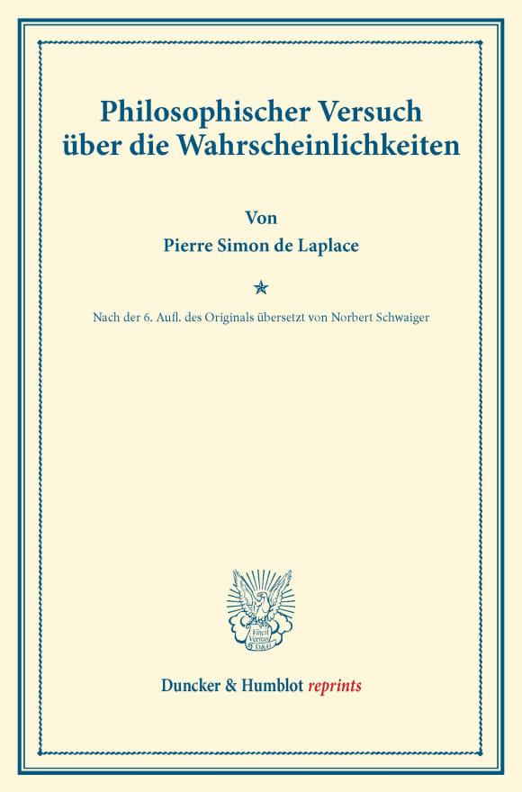 Cover Philosophischer Versuch über die Wahrscheinlichkeiten