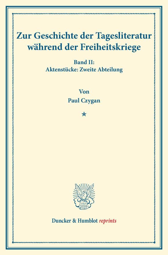 Cover Zur Geschichte der Tagesliteratur während der Freiheitskriege