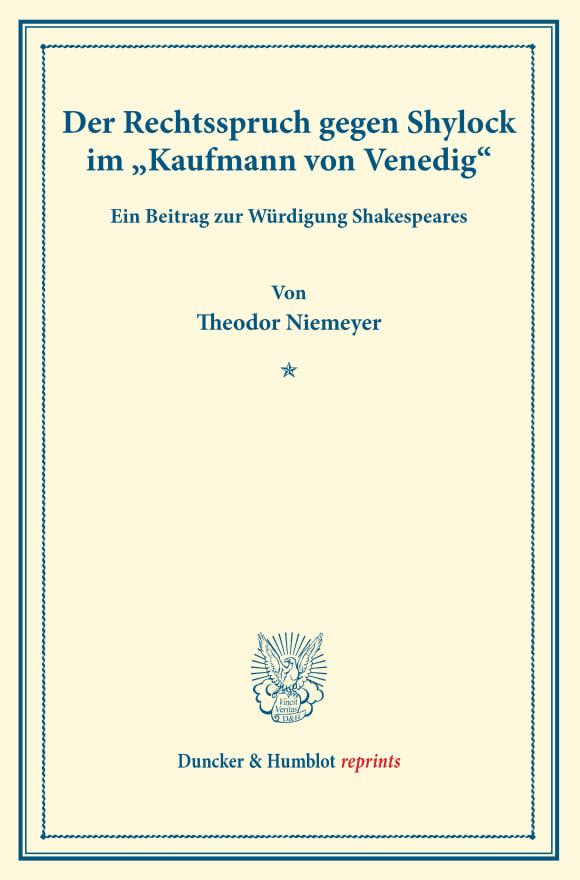 Cover Der Rechtsspruch gegen Shylock im »Kaufmann von Venedig«
