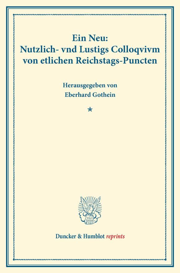 Cover Ein Neu: Nutzlich- vnd Lustigs Colloqvivm von etlichen Reichstags-Puncten