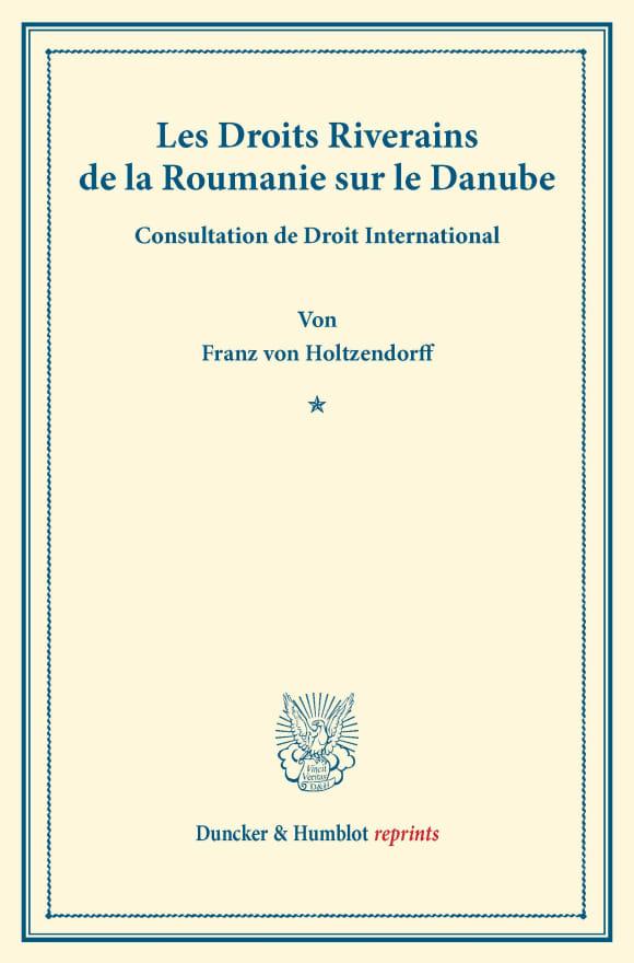 Cover Les Droits Riverains de la Roumanie sur le Danube