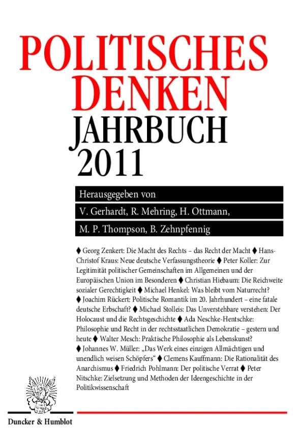 Cover Politisches Denken. Jahrbuch 2011