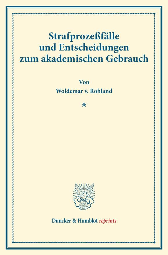 Cover Strafprozeßfälle und Entscheidungen zum akademischen Gebrauch