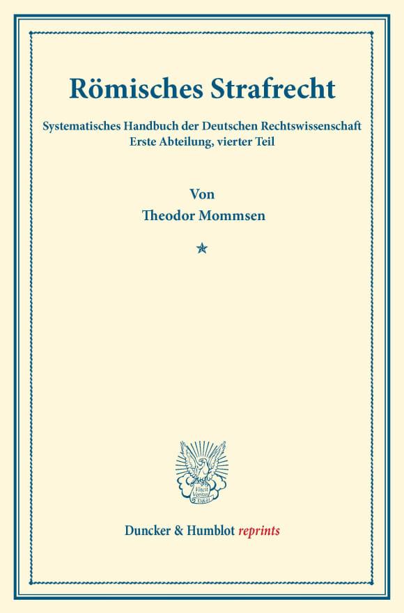 Cover Römisches Strafrecht