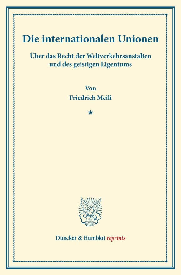 Cover Die internationalen Unionen