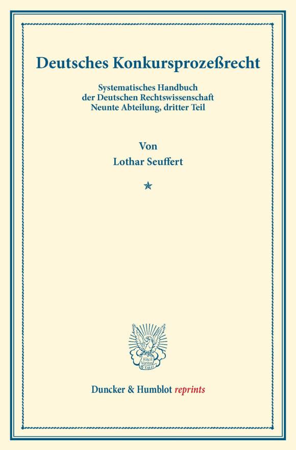 Cover Deutsches Konkursprozeßrecht