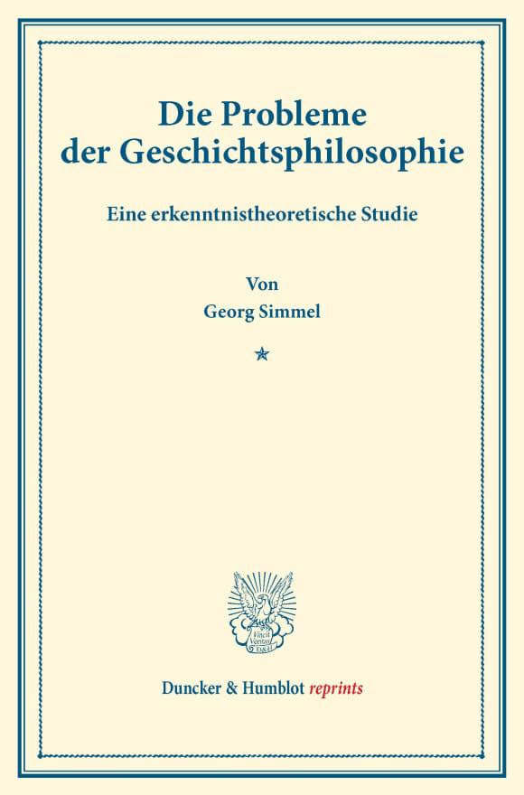 Cover Die Probleme der Geschichtsphilosophie