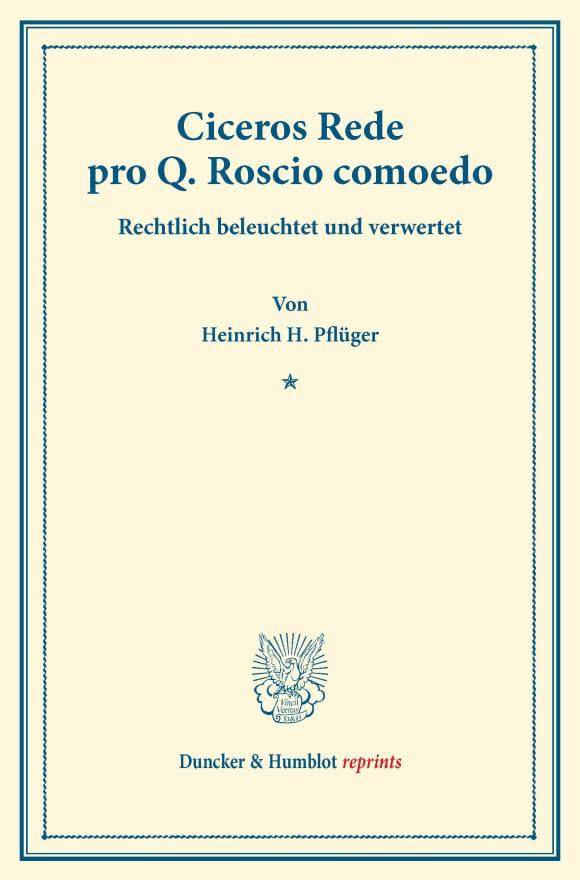 Cover Ciceros Rede pro Q. Roscio comoedo