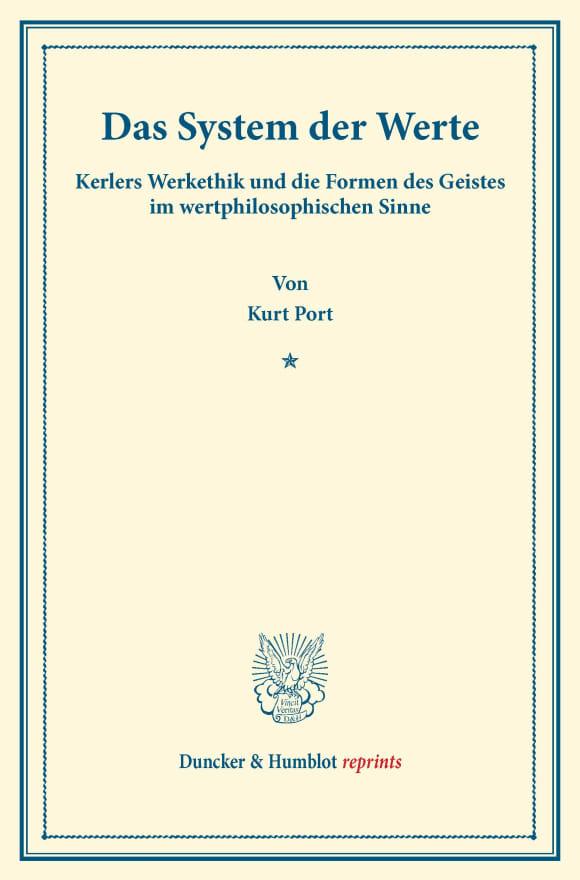Cover Das System der Werte
