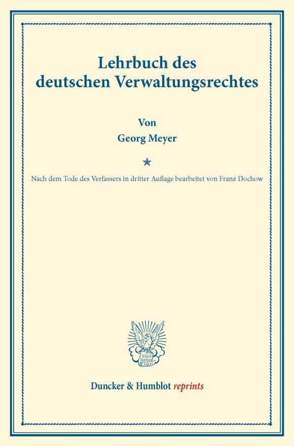 Cover Lehrbuch des deutschen Verwaltungsrechtes